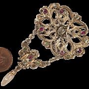 Victorian 900 Silver White Sapphire, Garnet, Peridot, Pearl Brooch