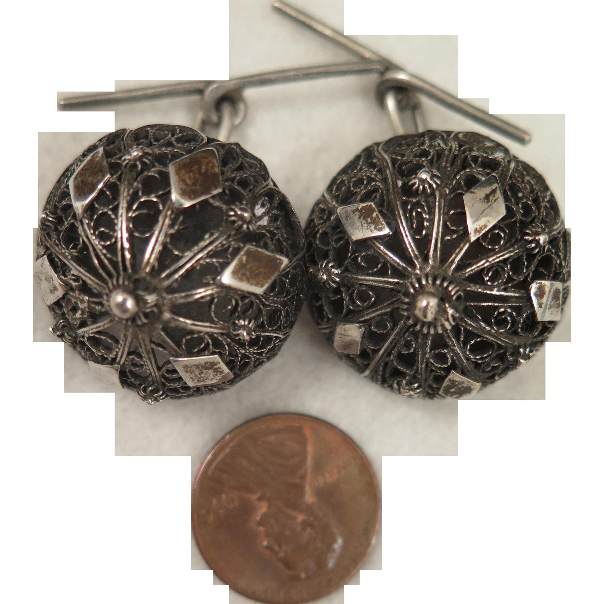 Antique Etruscan Revival 900 Silver Filigree Domed Cufflinks