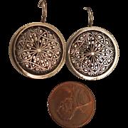 Antique Sterling Silver Filigree Earrings with Pierced Hooks