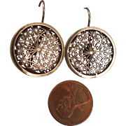 Antique Sterling Silver Filigree Earrings with Pierced Hooks
