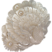 Vintage Japanese Carved Mother of Pearl Peacock Brooch
