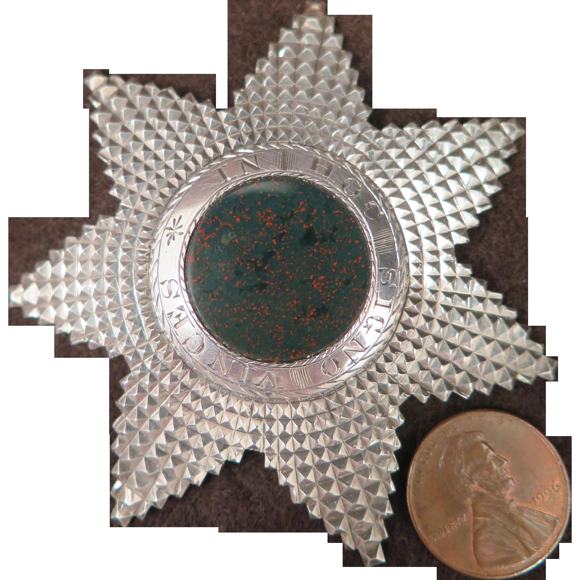 1873 George Kennig Masonic Sterling Silver Bloodstone Brooch