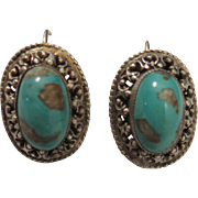 Antique 835 Silver Filigree Turquoise Earrings