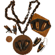 Rebaje Copper Double Masks Parure Set, Pendant, Brooch, Earrings