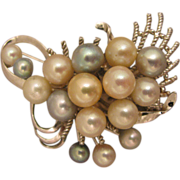 Mid 20th c. Japanese Sterling Silver Brooch w/ Large White & Blue Gray Cultured Pearls