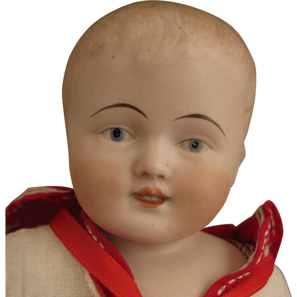 14 inch Antique German Kestner Bisque Boy Doll in Sailor Suit