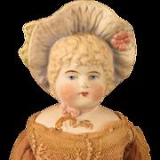Hertwig German Bonnet Head Blond Bisque Doll 13 inch