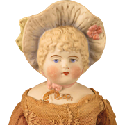Hertwig German Bonnet Head Blond Bisque Doll 13 inch