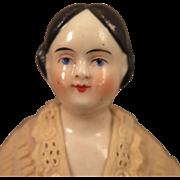 1860s German Covered Wagon China Head Doll 9 inch