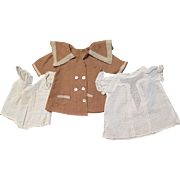 Antique Cotton Tan Coat, White Dress and Onesie for 14 inch Doll