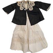 "Antique White Cotton Dress and Black Silk Coat for 24"" Doll"