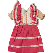 Antique Red Original Factory Dress for 16 inch Bisque Doll