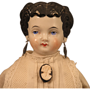 1870s Conte Boehme China Head Doll with Pierced Ears, 14 inch