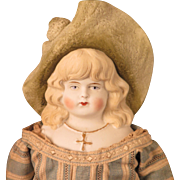 Hertwig 16.5 inch Doll with Large Green Bonnet