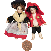 Antique French Lilliputian 2.5 inch Pair All Bisque Dolls