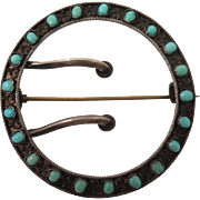 Victorian Etruscan Revival Turquoise 800 Silver Buckle Brooch