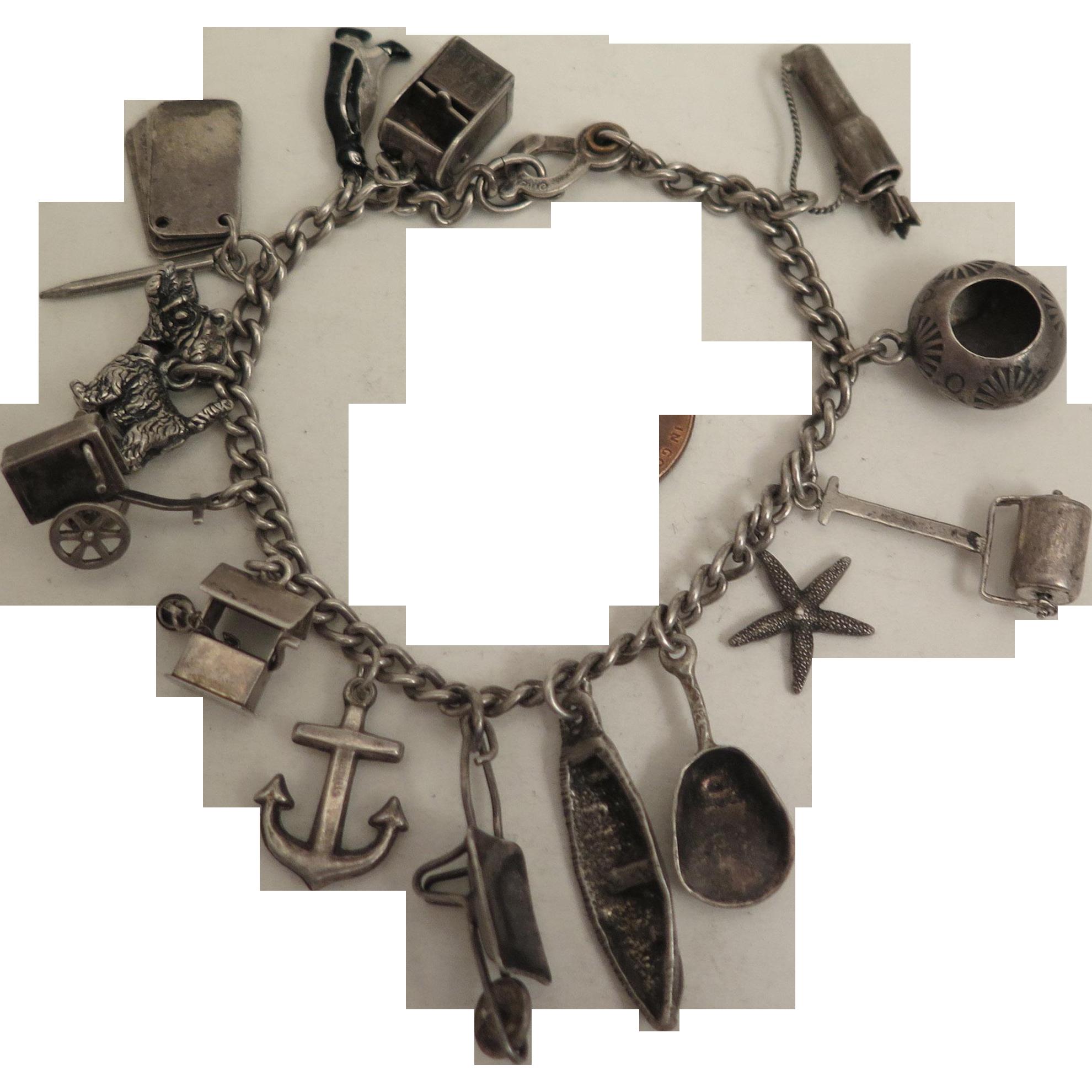 1940s Vintage Sterling Silver 14 Charm Bracelet