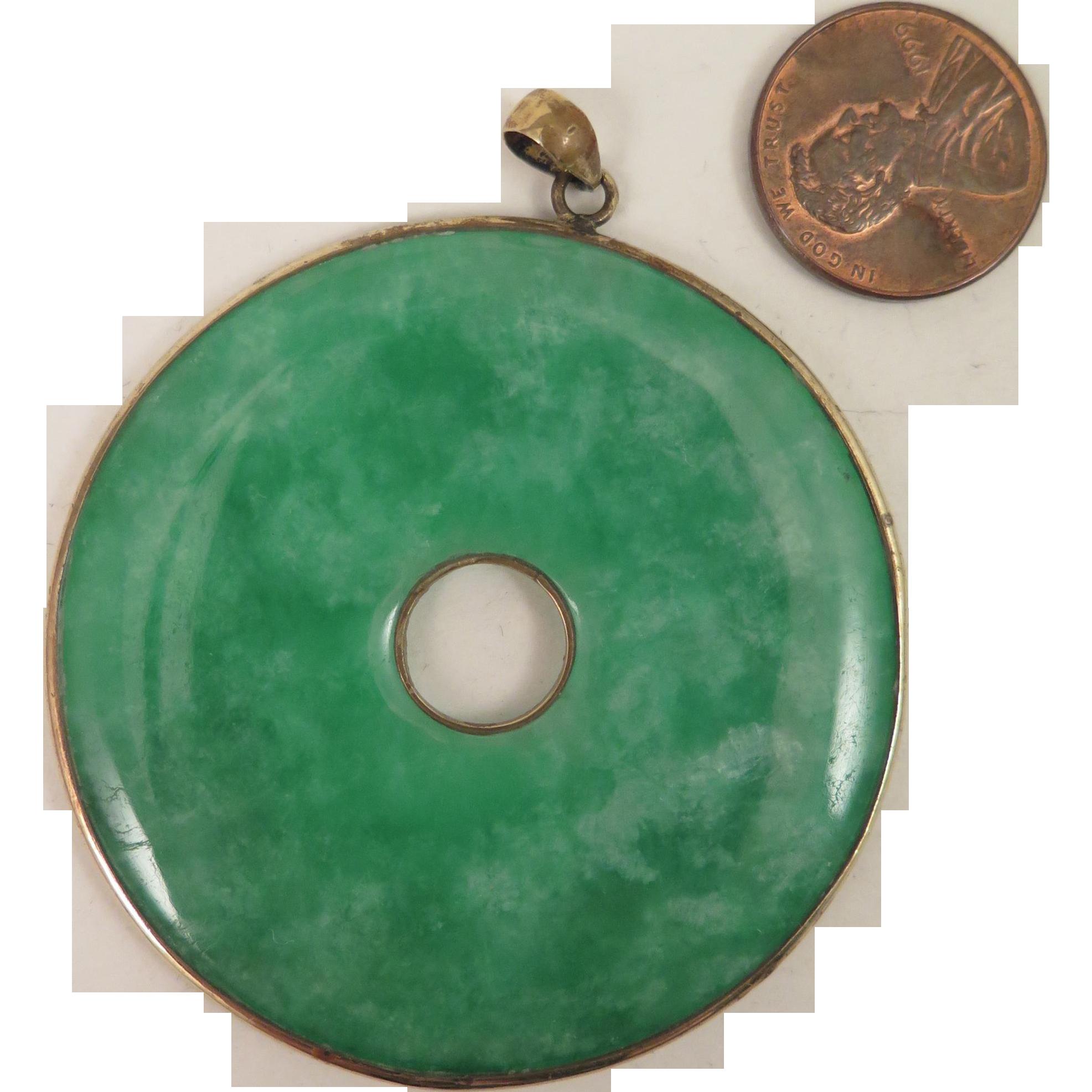 Large green jade disc pendant virtu doll ruby lane aloadofball Choice Image