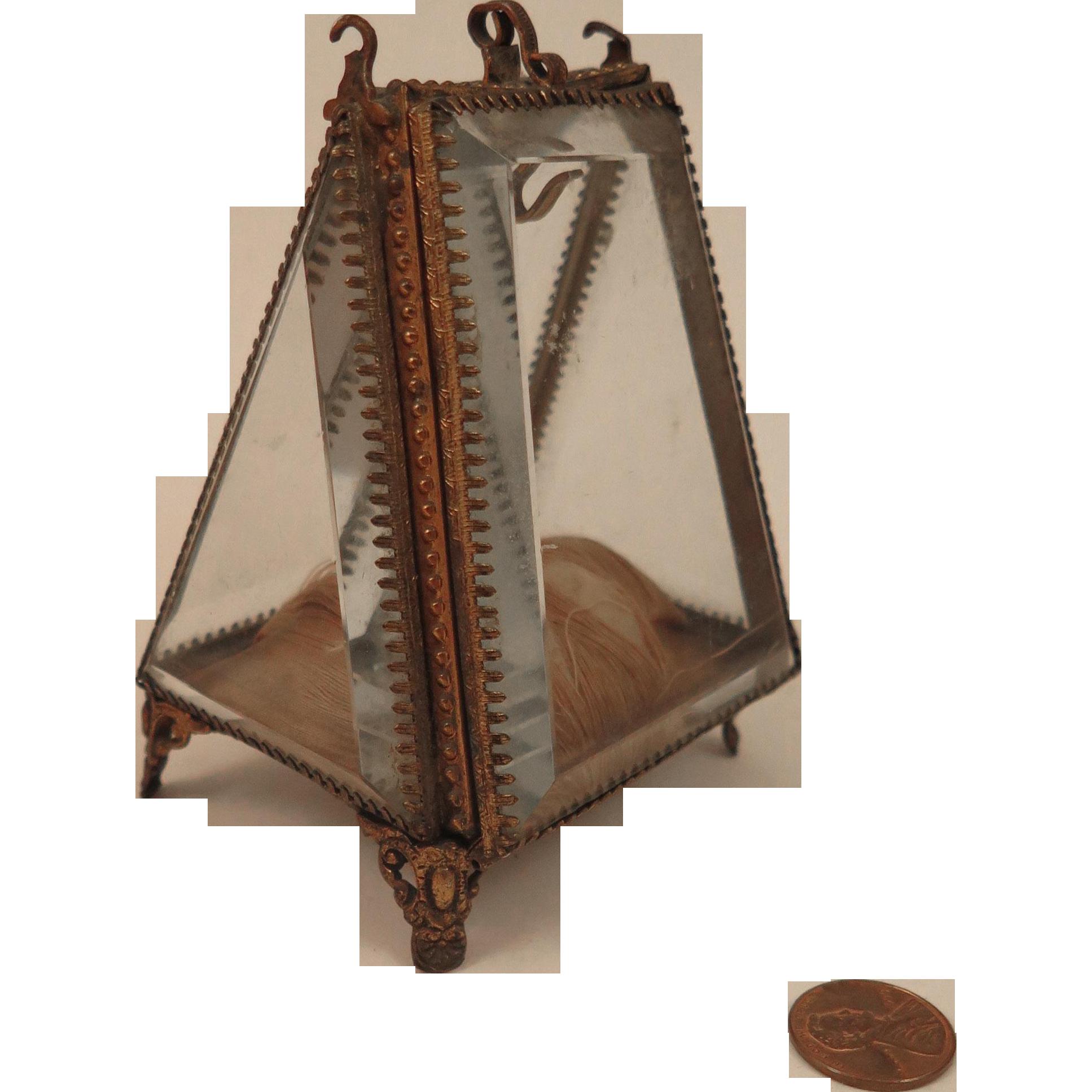 Antique Ormolu Beveled Glass Watch Jewelry Box