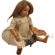 """14"""" Schoenhut Character Girl w/ Original Onesie & No Repaint"""