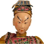 "17"" Early 1900s Chinese Opera Doll in Gold Silk"