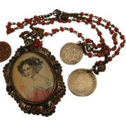 Early 1900s 800 Silver Portrait Pendant on Coral Necklace