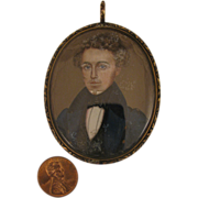 Georgian 9K Portrait Miniature Gentleman Pendant Locket