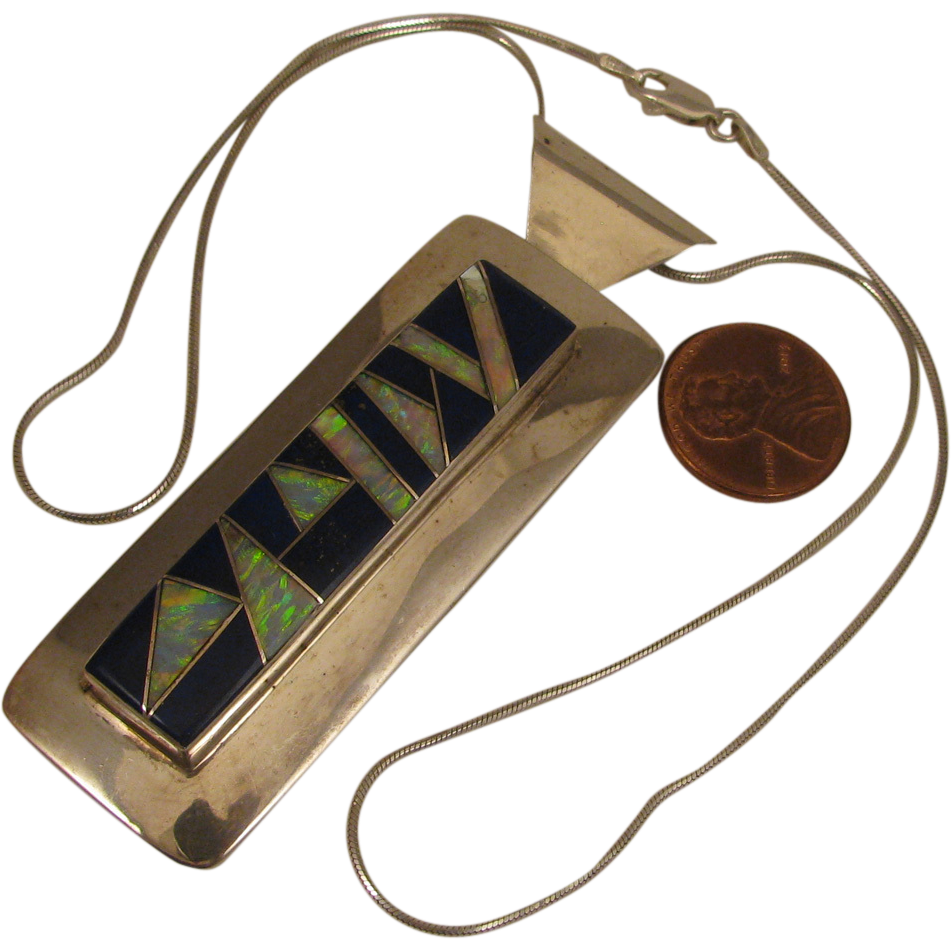 1980s Vintage American Indian Zuni JM Sterling Opal Inlay in Lapis Pendant