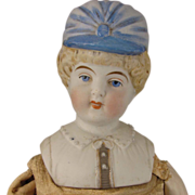 "15"" Hertwig Parian Bisque Bonnet Head Doll"