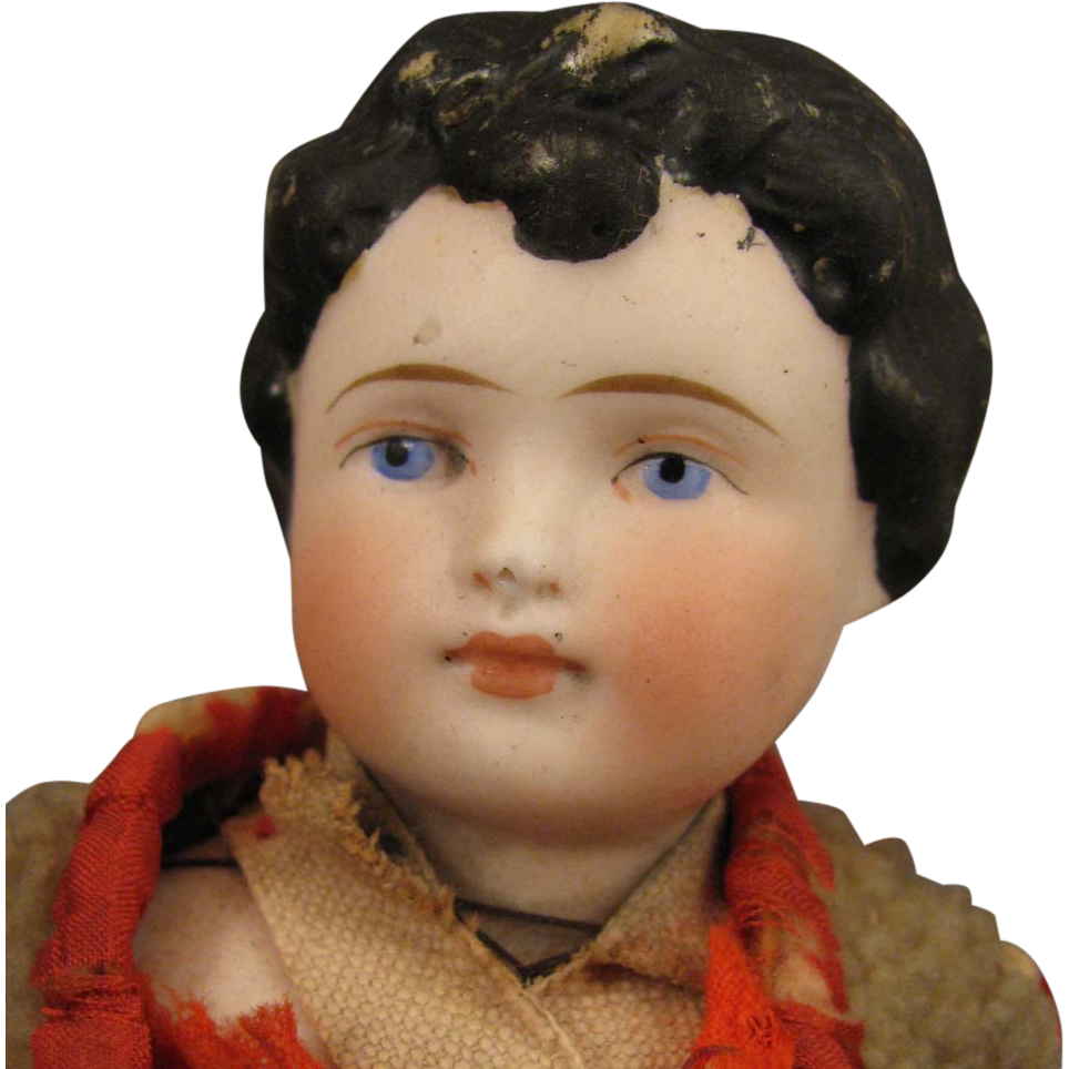 11 inch Antique German Bisque Doll Boy with Original Clothing