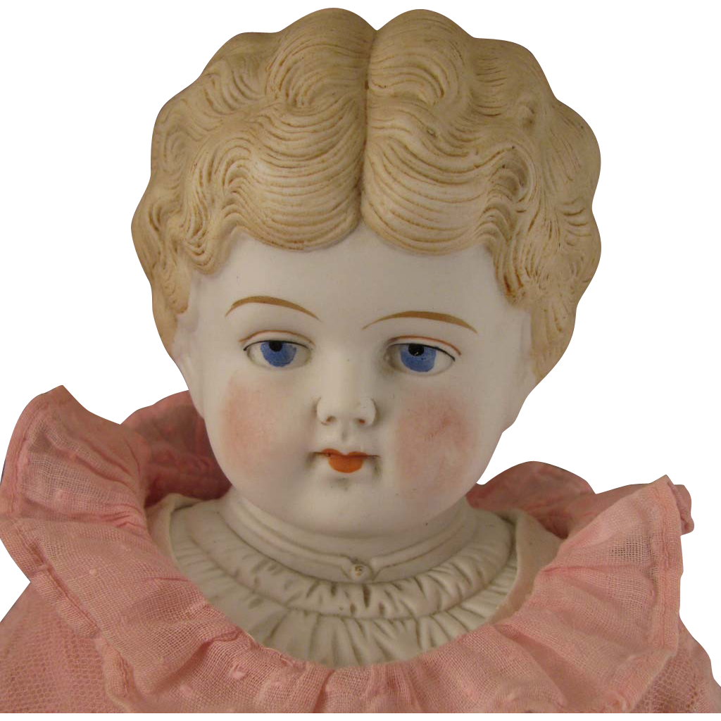 19 inch Hertwig Blond Parian Bisque Doll with Decorated Shoulder Plate and Turned Head