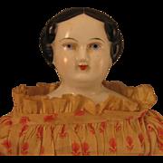 "13.5"" Antique German Flat Top China Head Doll"