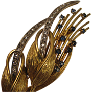 1950s-60s Vintage 18K Gold, Diamond Sapphire Calla Lily Flower Brooch