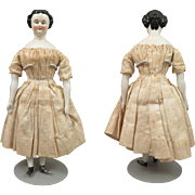 "1860s Rare Looped Bun Hair All Original China Doll 8.5"""