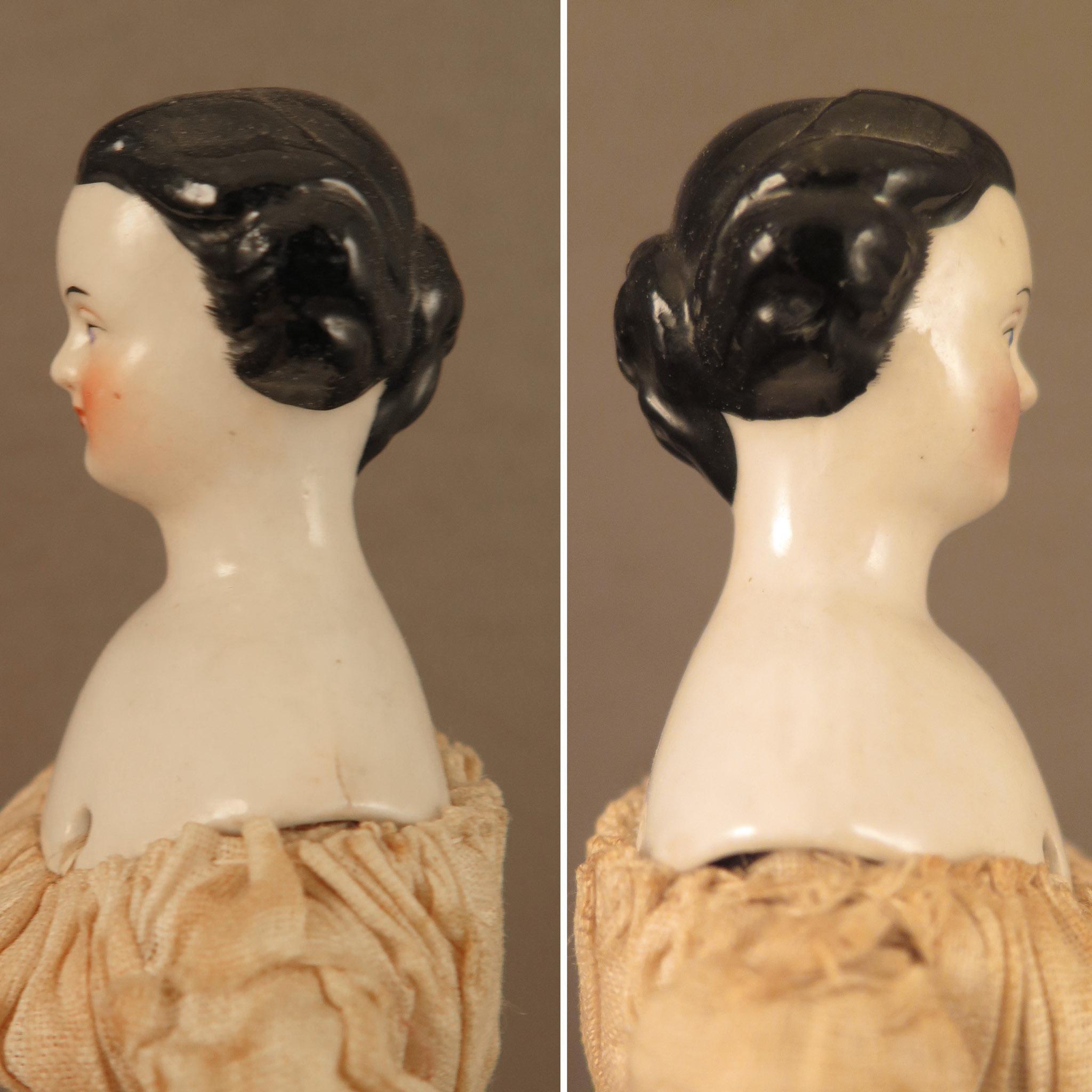 1860s rare looped bun hair all original china doll 8 5. Black Bedroom Furniture Sets. Home Design Ideas