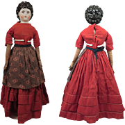 1870s Alt Beck Gottschalck China Doll with Pierced Ears and Ringlets, 15.5 inch