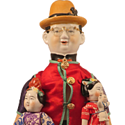 Vintage Chinese Man China Doll plus 2 Children