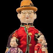 Vintage Chinese Man China Doll plus 2 Children