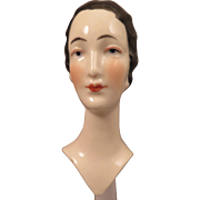1920s China Half Doll Bust with Marcel Wave 3.5 inch