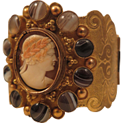 Victorian Gilded Brass Agate Cameo Cuff Bracelet