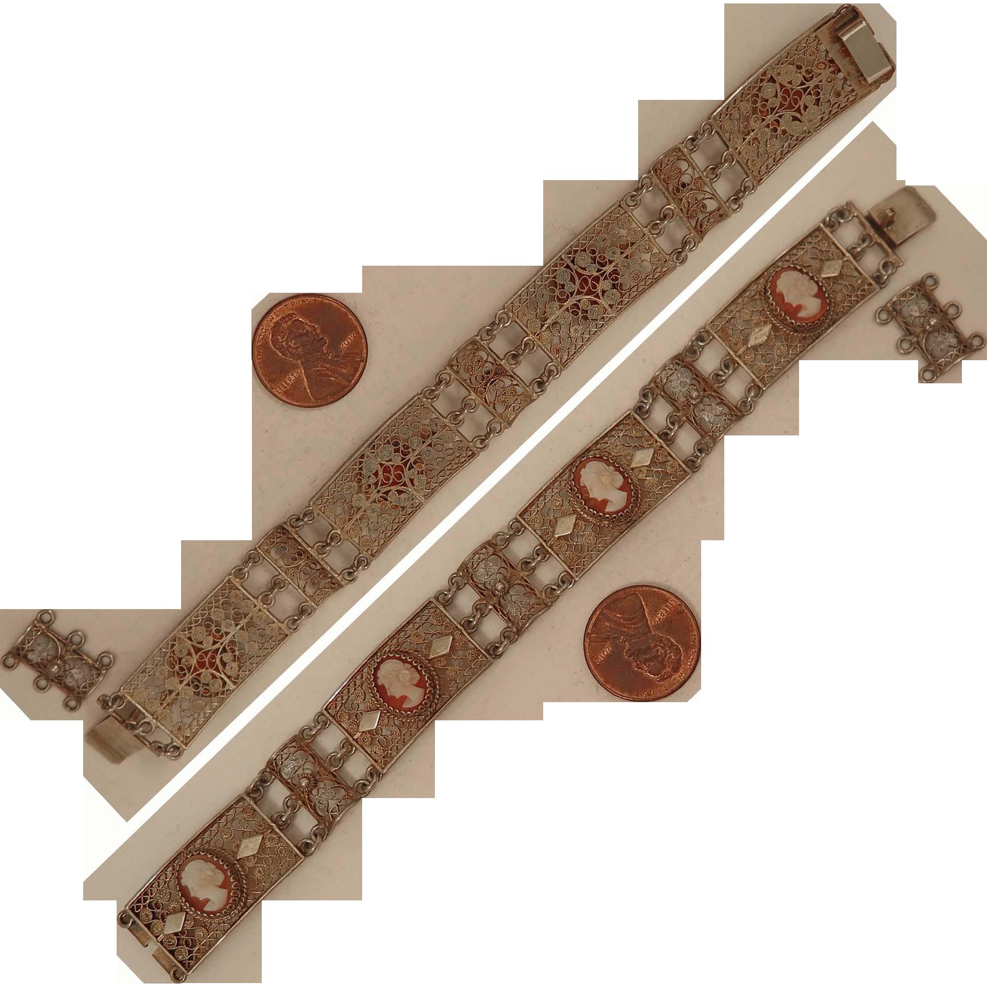 Mid 1900s 800 Silver Vermeil Cameo Bracelet