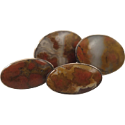 Antique Scottish Agate Sterling Silver Cufflinks
