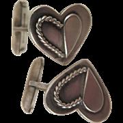 1949 Sterling Silver Heart Cufflinks