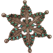 Vintage South Western Sterling Silver Turquoise Star Brooch
