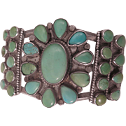 Vintage Southwestern Sterling Silver Turquoise Bracelet Cuff