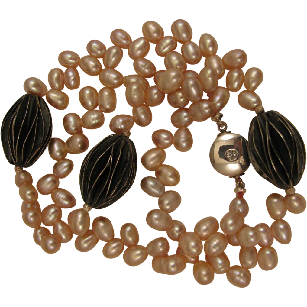 Pink Cultured Pearl Sterling Bead 19 inch Necklace