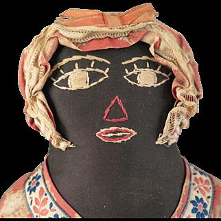 Antique Black Cloth Folk Art Doll 15 inch
