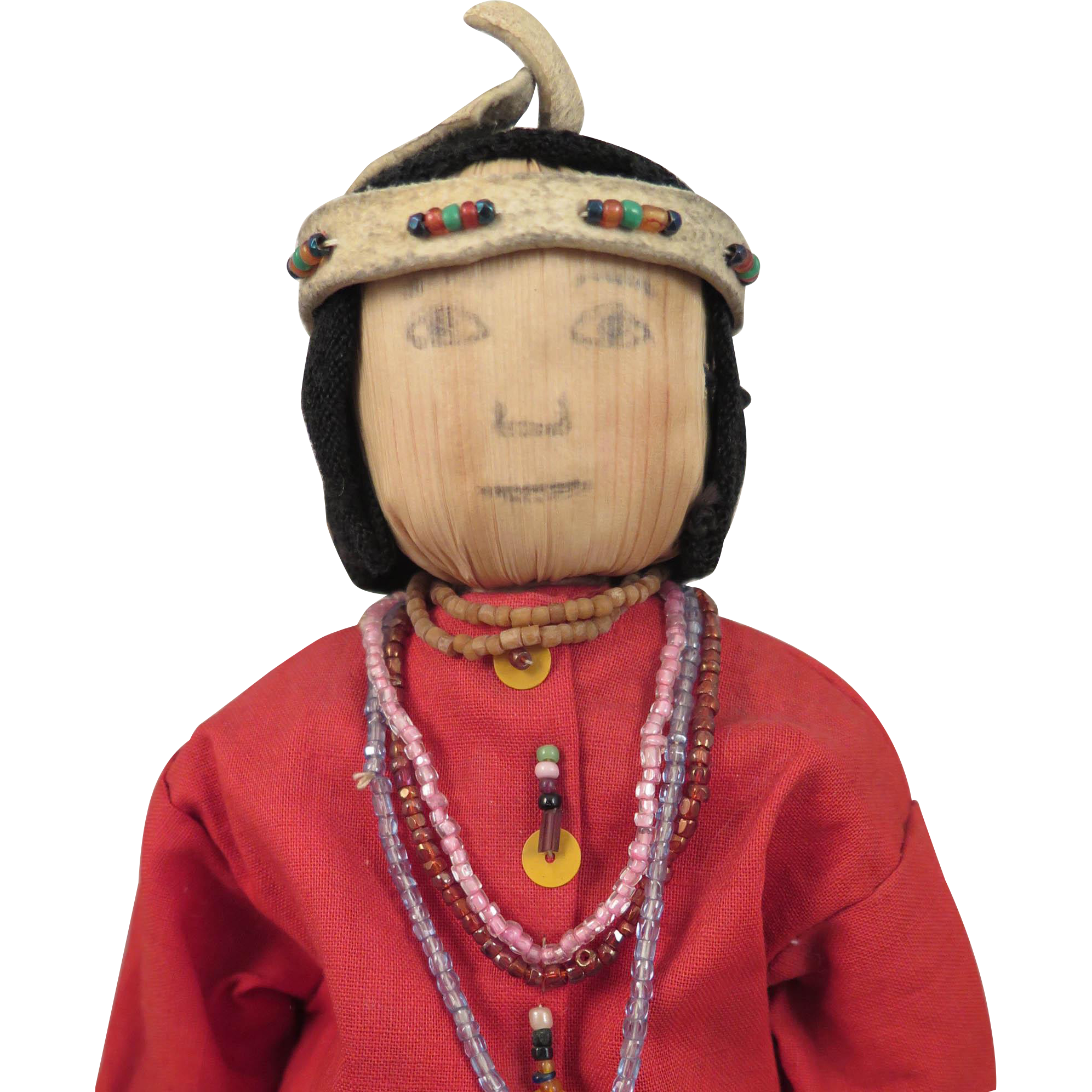 1930s-40s American Indian South Western Cornhusk Doll 12 inches