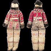 Antique Inuit Greenland Folk Art Cloth Doll All Original 15 inch