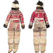 Antique Inuit Greenland Folk Art Cloth Doll All Original 15 inch